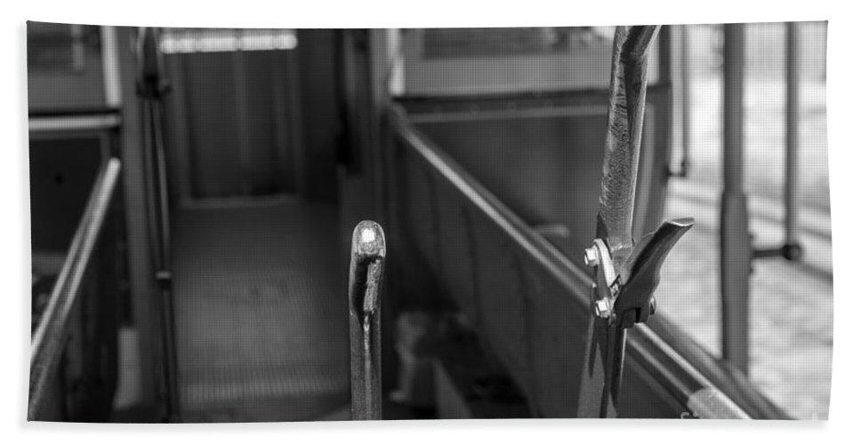 Iris Holzer Richardson Bath Sheet featuring the photograph Trolley 28 Leaver Black And White by Iris Richardson