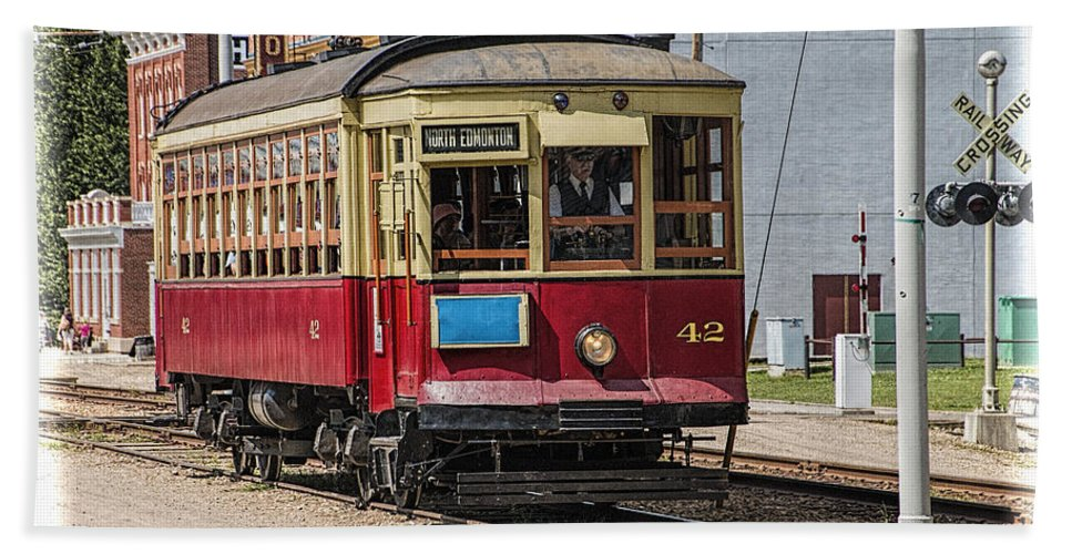 Art Bath Sheet featuring the photograph Trolley Car At The Fort Edmonton Park by Randall Nyhof