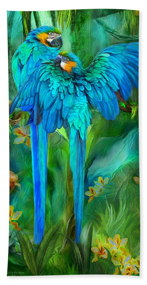 Macaw Bath Sheet featuring the mixed media Tropic Spirits - Gold And Blue Macaws by Carol Cavalaris