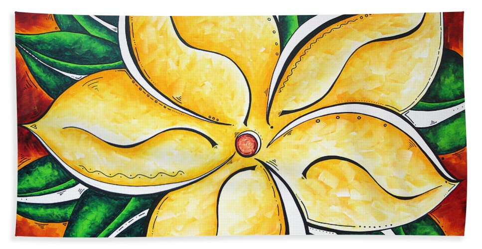 Tropical Hand Towel featuring the painting Tropical Abstract Pop Art Original Plumeria Flower Painting Pop Art Tropical Passion By Madart by Megan Duncanson