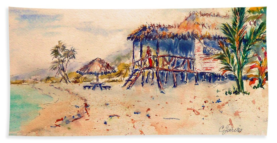 Tropical Paintings Hand Towel featuring the painting Tropical Beach Hut by Carolyn Jarvis