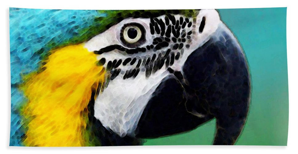 Macaw Bath Sheet featuring the painting Tropical Bird - Colorful Macaw by Sharon Cummings