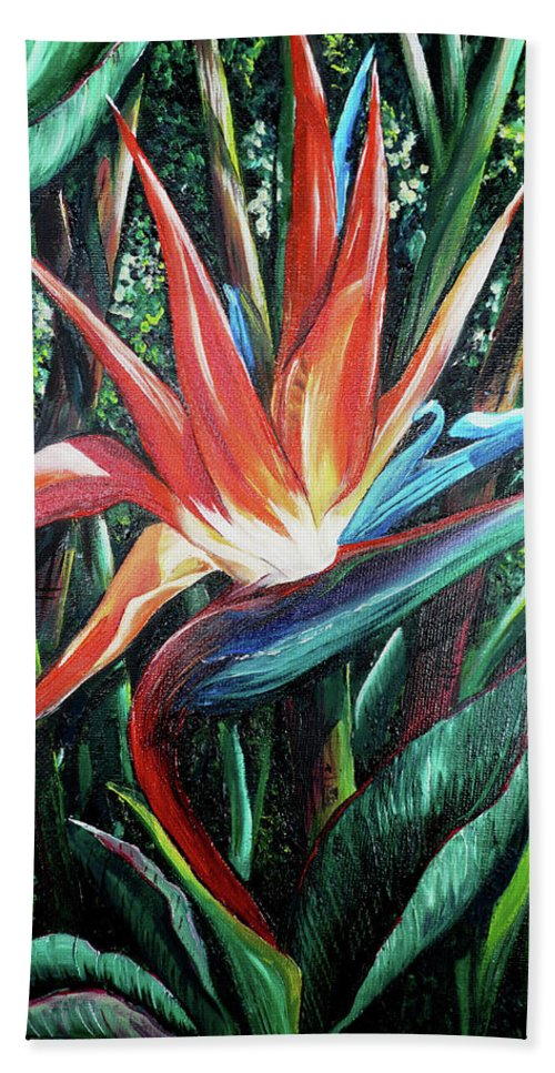 Floral Hand Towel featuring the painting Tropical Bird by Karin Dawn Kelshall- Best