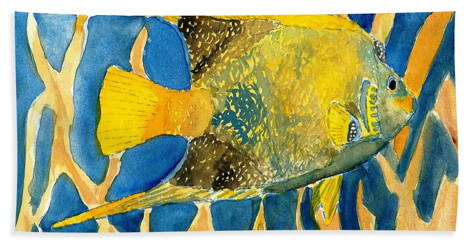 Tropical Hand Towel featuring the painting Tropical Fish Art Print by Derek Mccrea