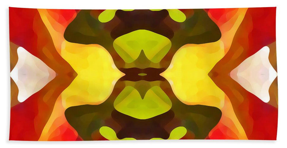 Abstract Hand Towel featuring the painting Tropical Leaf Pattern 1 by Amy Vangsgard