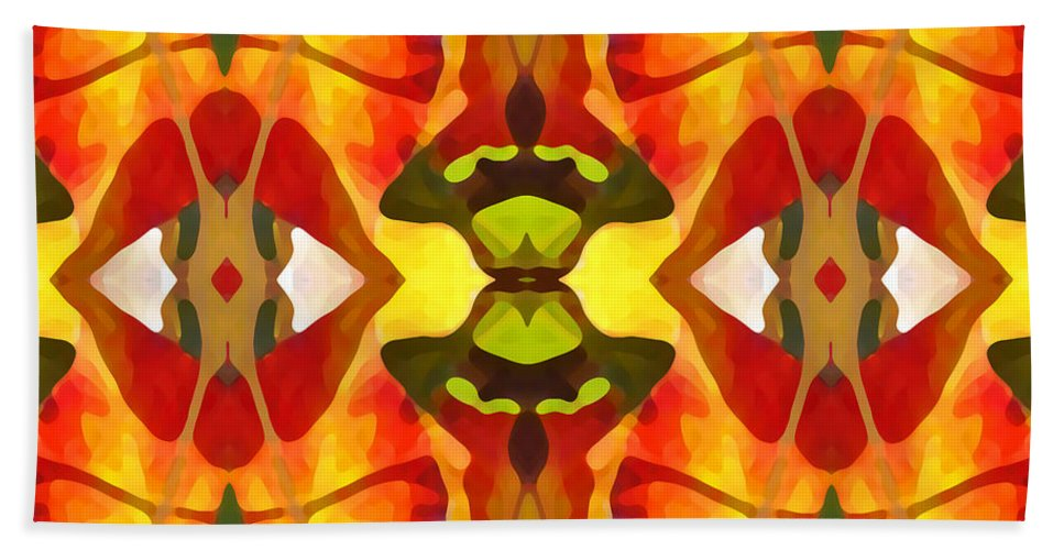 Abstract Bath Towel featuring the painting Tropical Leaf Pattern 4 by Amy Vangsgard