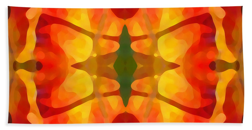 Abstract Hand Towel featuring the painting Tropical Leaf Pattern5 by Amy Vangsgard
