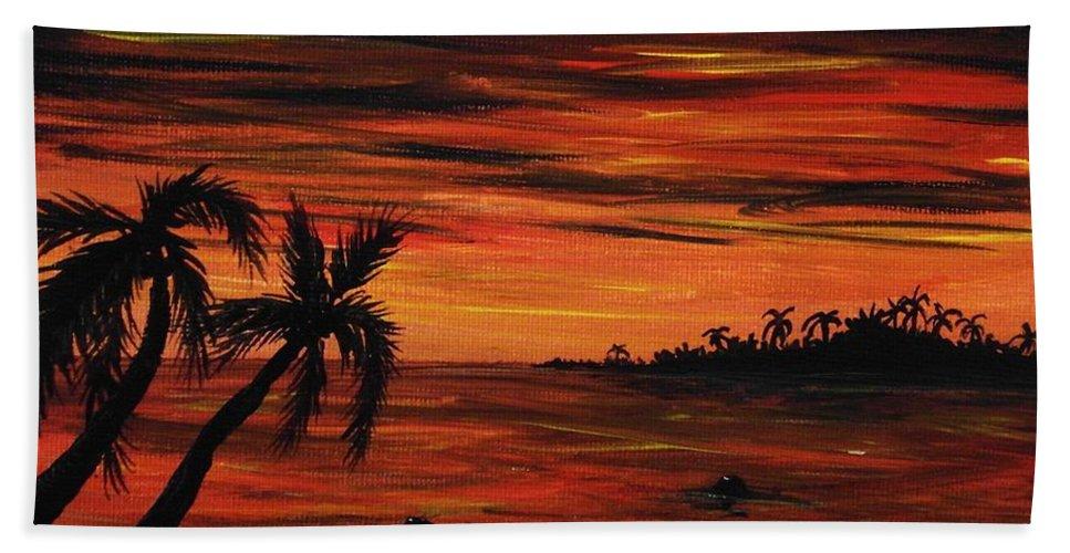 Malakhova Hand Towel featuring the painting Tropical Night by Anastasiya Malakhova