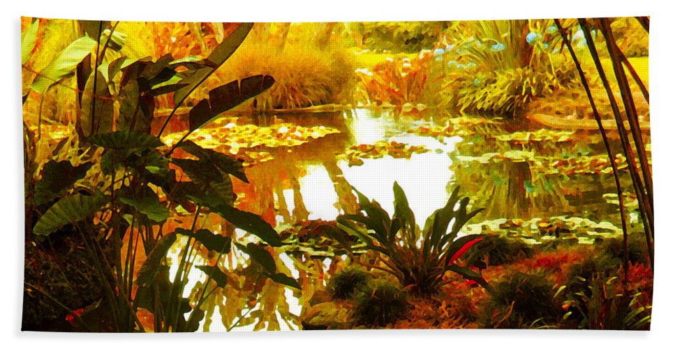 Garden Bath Sheet featuring the painting Tropical Paradise by Amy Vangsgard