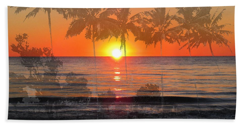 Beach Hand Towel featuring the painting Tropical Spirits - Palm Tree Art By Sharon Cummings by Sharon Cummings