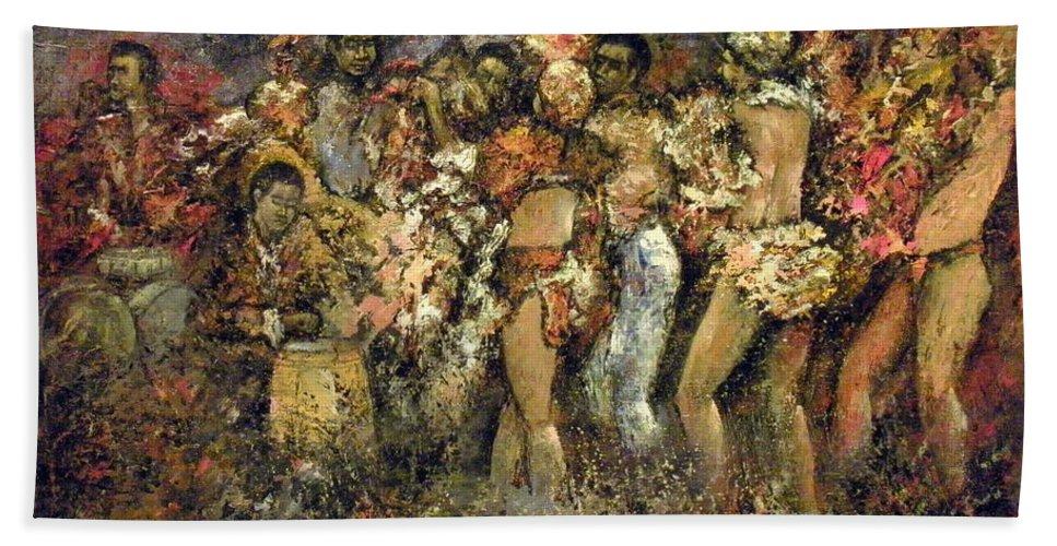 Tropicana Bath Sheet featuring the painting Tropicana Havana by Tomas Castano