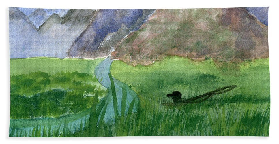 Fishing Hand Towel featuring the painting Trout Bum by Victor Vosen