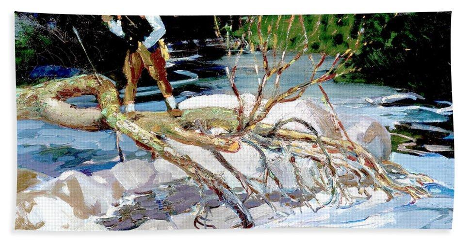 George Benjamin Luks Hand Towel featuring the photograph Trout Fishing by George Benjamin Luks