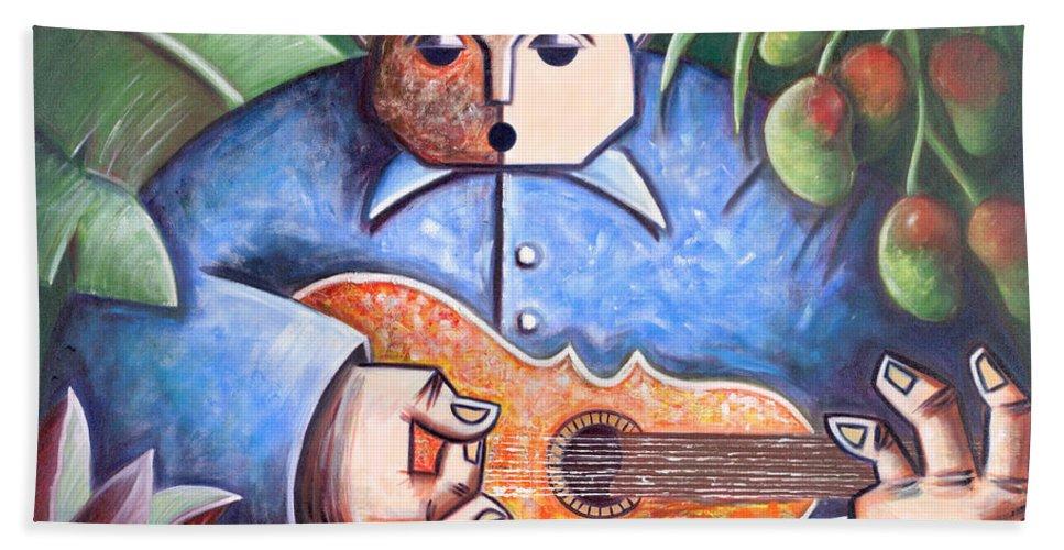 Puerto Rico Bath Towel featuring the painting Trovador de mango bajito by Oscar Ortiz