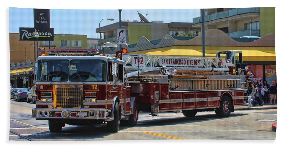 Fire Truck Hand Towel featuring the photograph Truck 2 Sffd by Tommy Anderson