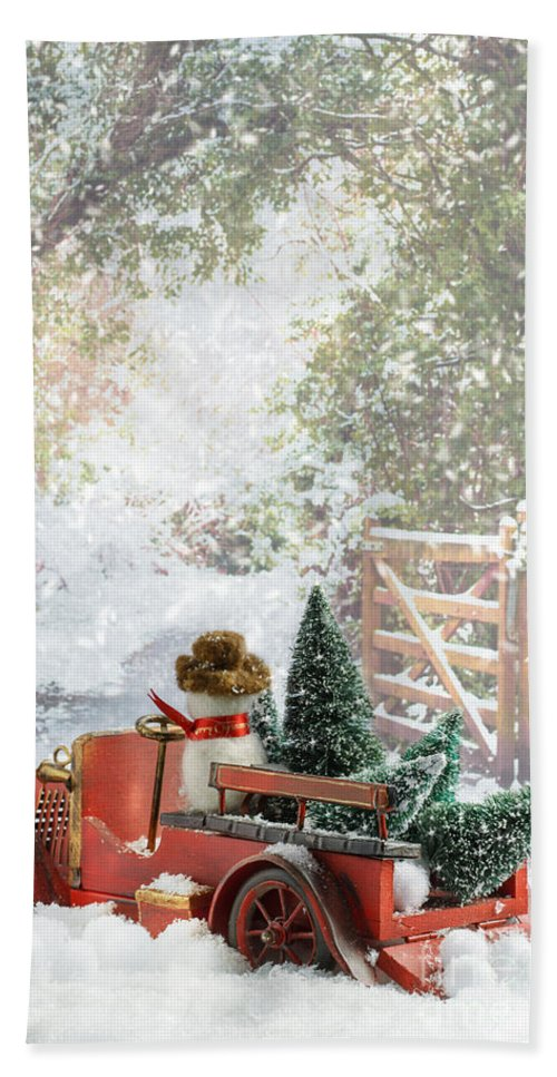 Christmas Bath Sheet featuring the photograph Truck Carrying Christmas Trees by Amanda Elwell
