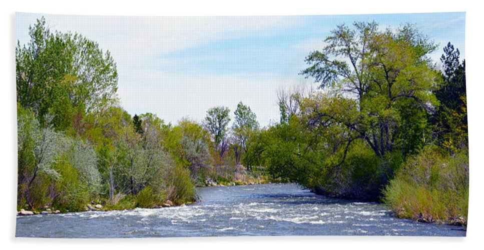 Son Bath Sheet featuring the photograph Truckee River by Brent Dolliver