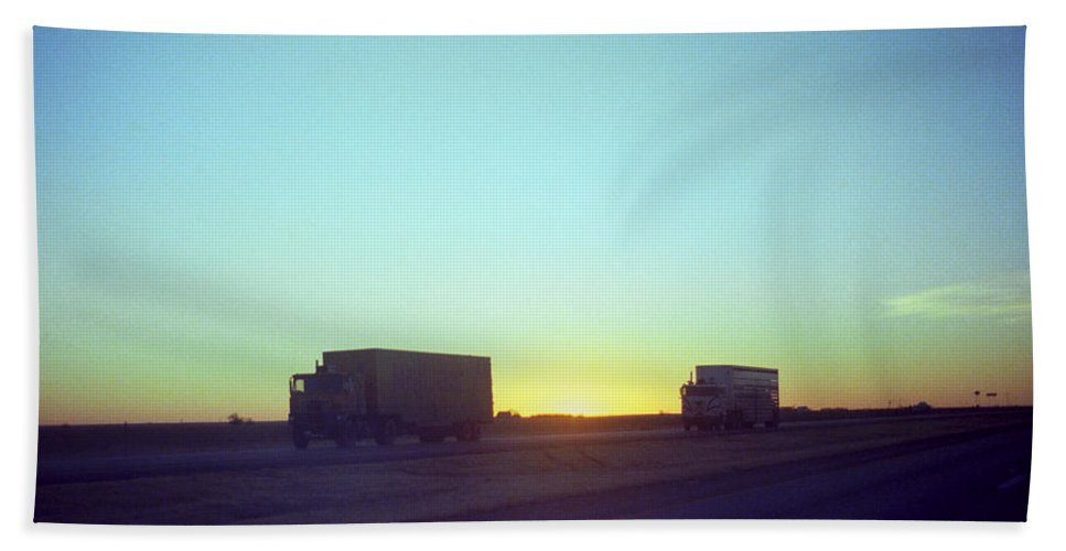 Adventure Hand Towel featuring the photograph Trucker Sunset by Frank Romeo