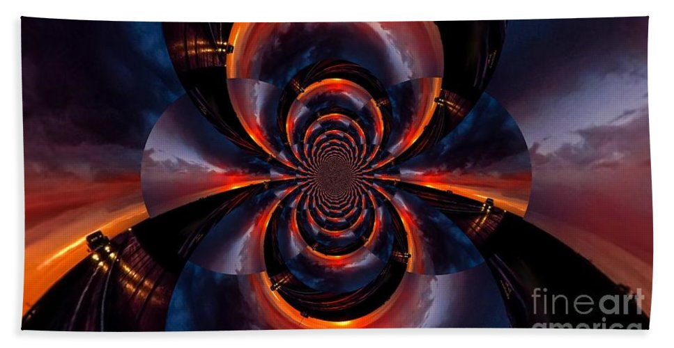 Abstract Bath Sheet featuring the photograph Trucker Sunset Illusion by Jesse Post