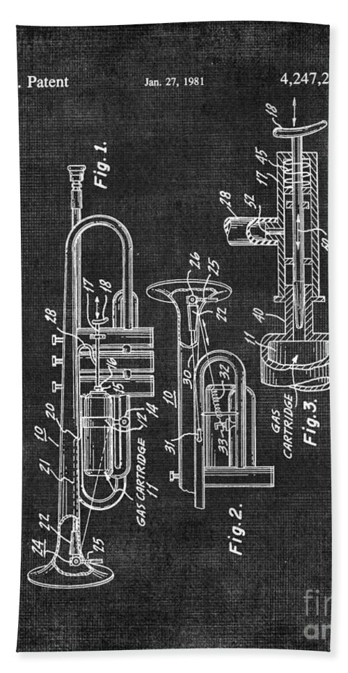 Trumpet Bath Sheet featuring the digital art Trumpet Patent by Voros Edit