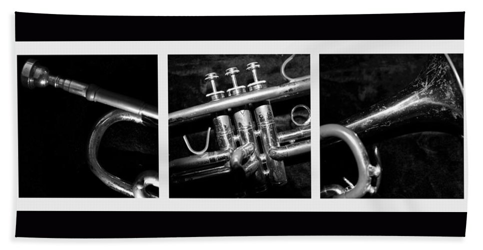 Trumpet Hand Towel featuring the photograph Trumpet Triptych by Photographic Arts And Design Studio