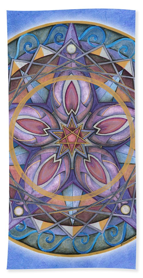 Mandala Art Bath Sheet featuring the painting Truth Mandala by Jo Thomas Blaine