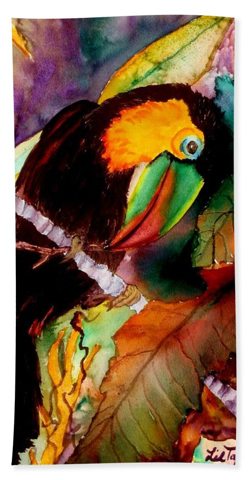 Toucan Bath Sheet featuring the painting Tu Can Toucan by Lil Taylor