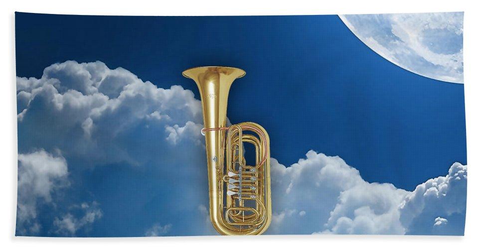 Tuba Bath Sheet featuring the mixed media Tuba Dreams by Marvin Blaine