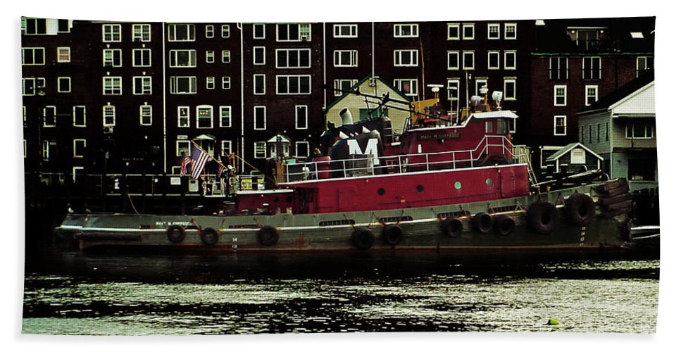 Portsmouth Bath Sheet featuring the photograph Tug At Dock by Kevin Fortier