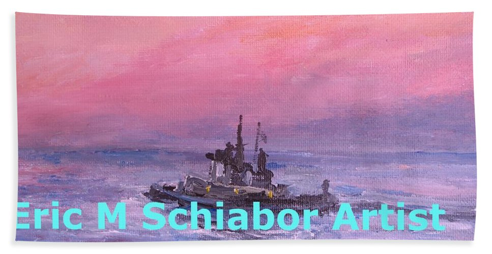 Tug Hand Towel featuring the painting Tug At Sunrise by Eric Schiabor