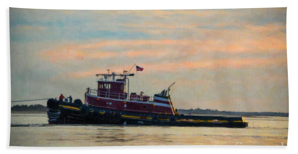 Tug Boat Bath Sheet featuring the photograph Tug Boat Hard At Work by Dale Powell
