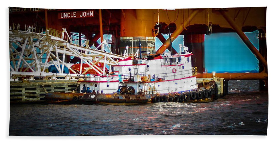 Tug Boat Hand Towel featuring the photograph Tug Boat by Mechala Matthews