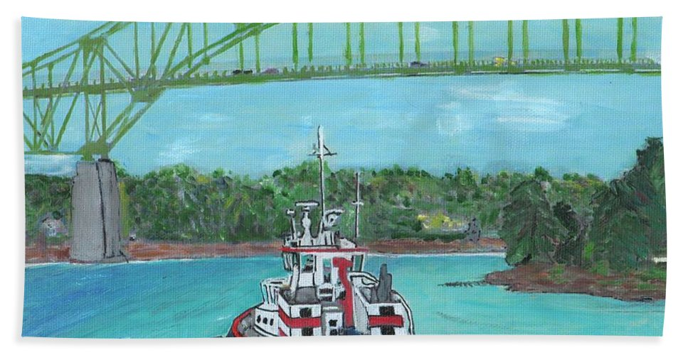Tugboats Hand Towel featuring the painting Tug Sabine Under Bourne Bridge by Cliff Wilson