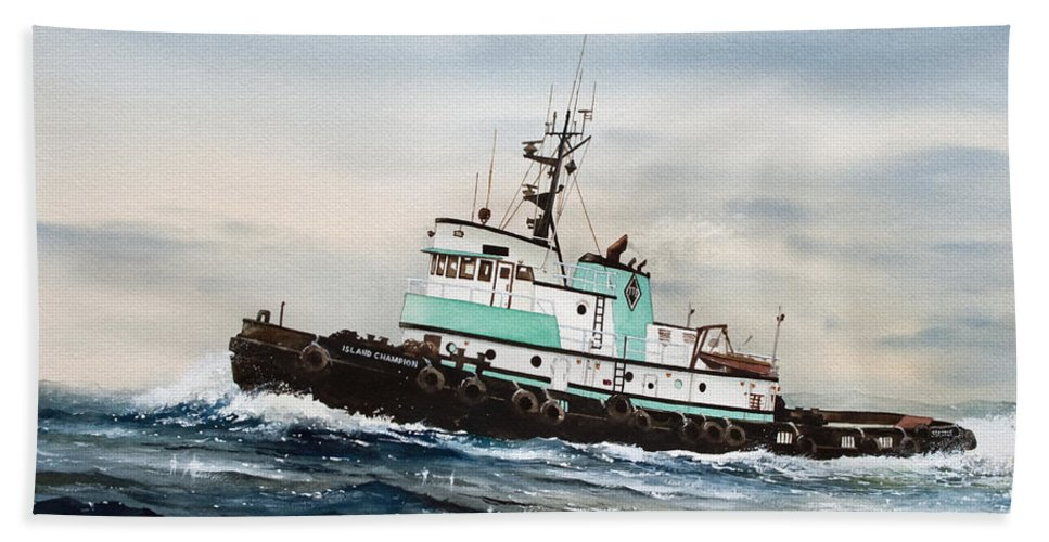 Tugs Bath Sheet featuring the painting Tugboat Island Champion by James Williamson