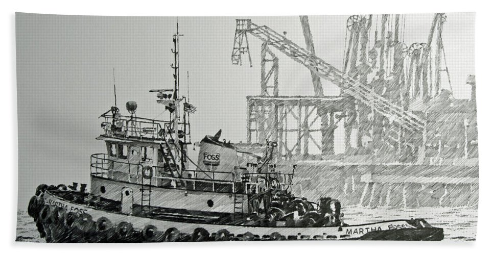 Tugs Bath Sheet featuring the drawing Tugboat Martha Foss by James Williamson
