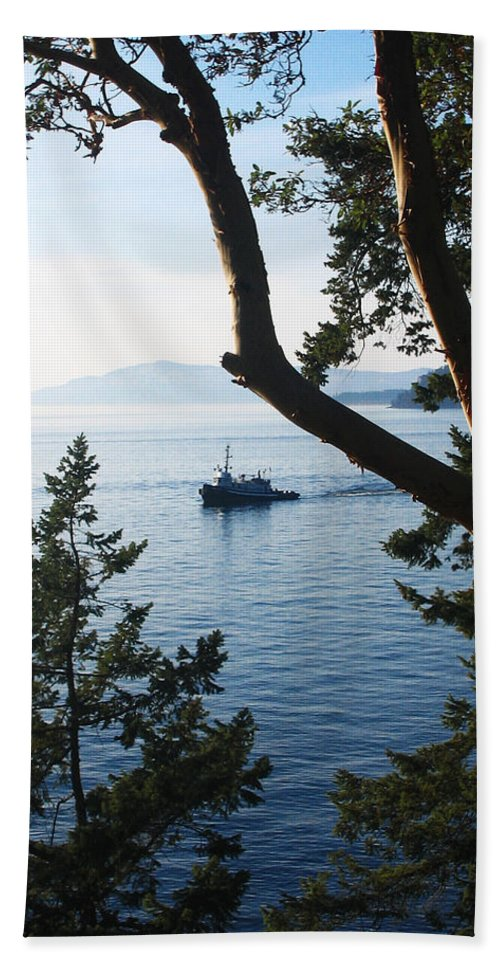 Tugboat Bath Sheet featuring the photograph Tugboat Passes by Lorraine Devon Wilke