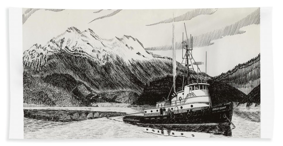 Tugboat Skagit Chief Prints Hand Towel featuring the drawing Skagit Chief Tugboat by Jack Pumphrey