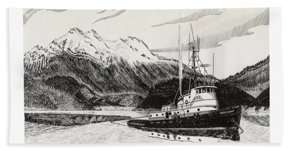 Tugboat Skagit Chief Prints Bath Sheet featuring the drawing Skagit Chief Tugboat by Jack Pumphrey