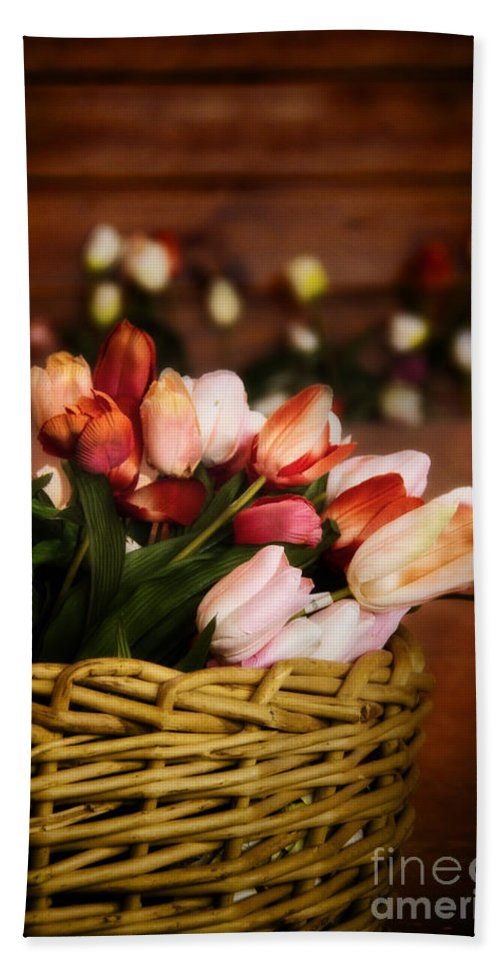 Tulips; White; Red; Pink; Wall; Basket; Still Life; Flower; Floral; Color; Simplicity; Inside; Room; Floor; Calm; Indoors; Beautiful; Tranquil; Seasonal; Spring Hand Towel featuring the photograph Tulip Basket by Margie Hurwich