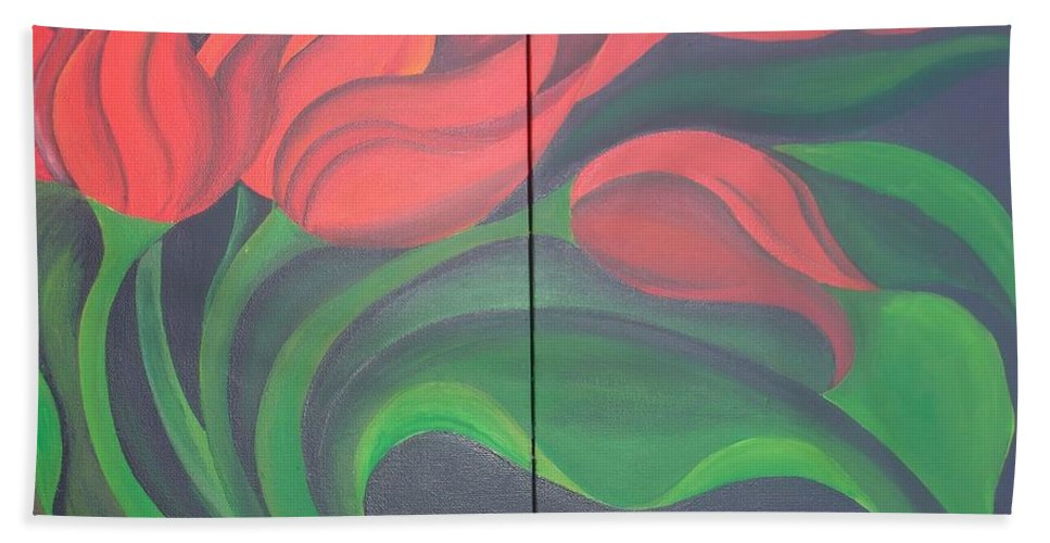 Diptych Bath Sheet featuring the painting Tulip Diptych by Taiche Acrylic Art