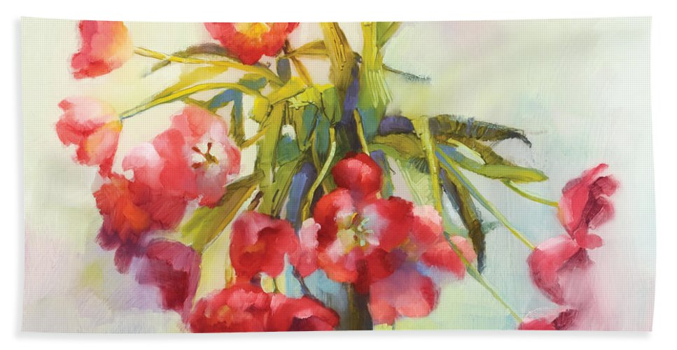 Florals Hand Towel featuring the painting Tulip Fling by Cathy Locke