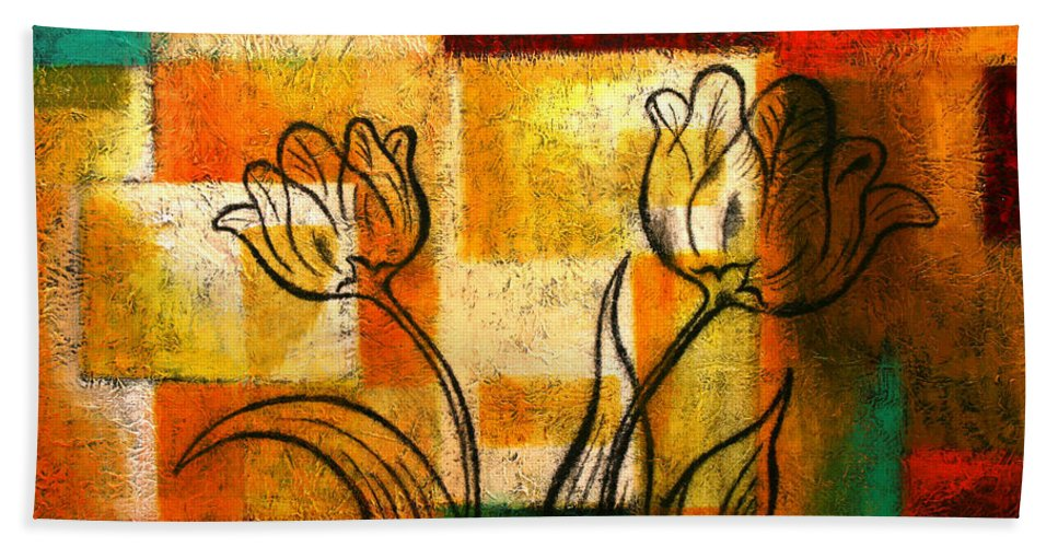 Flowers Paintings Bath Sheet featuring the painting Tulip by Leon Zernitsky