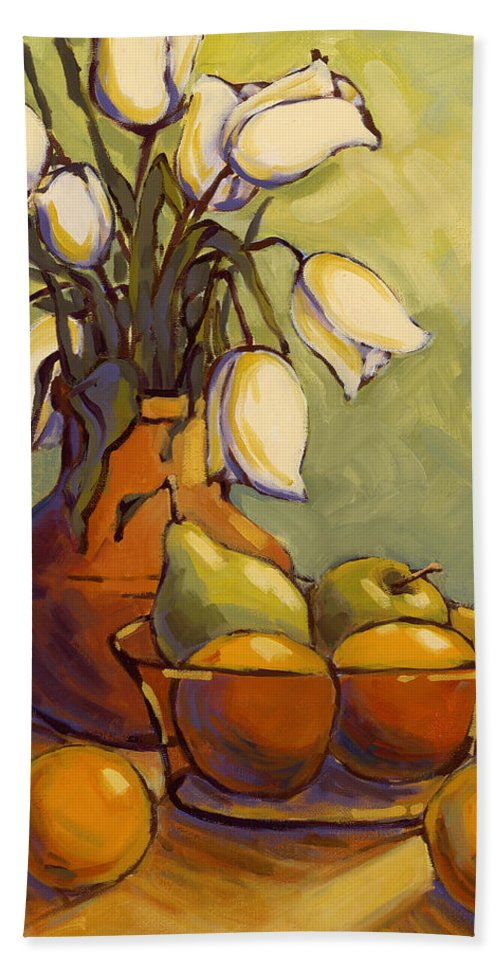 Tulips Bath Towel featuring the painting Tulips 1 by Konnie Kim