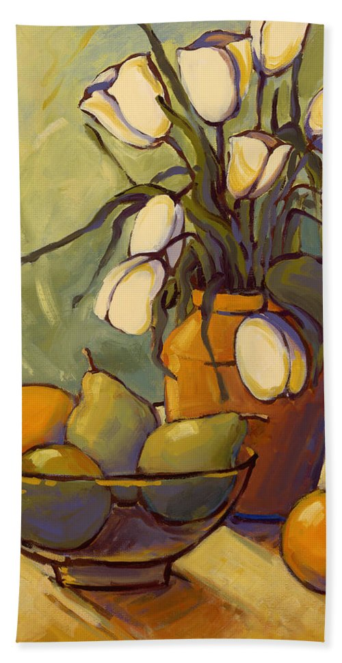 Tulips Hand Towel featuring the painting Tulips 2 by Konnie Kim