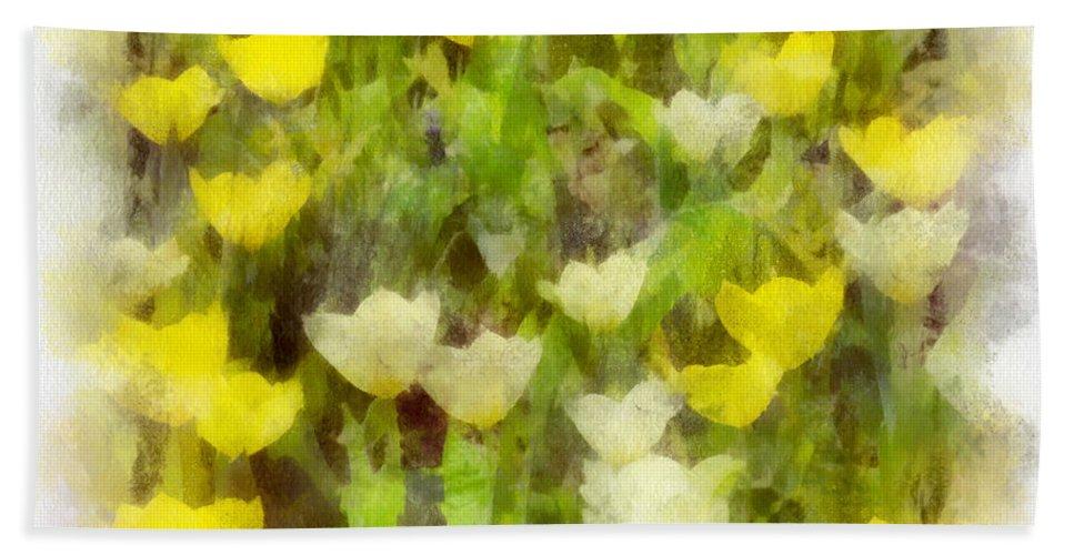 Tulips Bath Sheet featuring the mixed media Tulips Everywhere by Kerri Farley