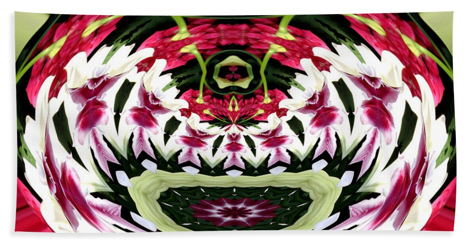Tulips Bath Sheet featuring the photograph Tulips Hydrangeas Easter Lilies Polar Coordinate Effect by Rose Santuci-Sofranko
