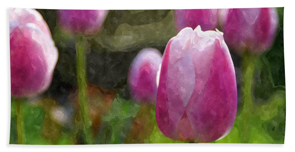 Tulips Hand Towel featuring the photograph Tulips In Digital Watercolor by Mick Anderson