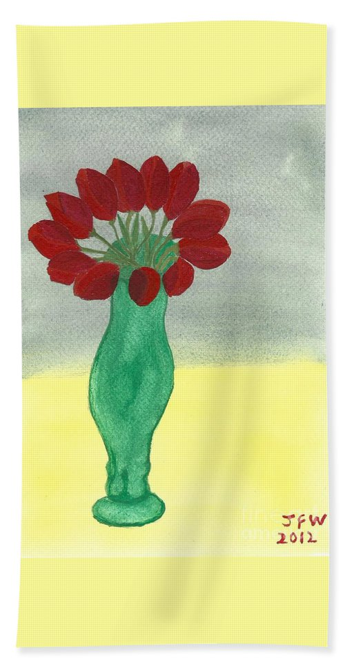 Tulips Of Love Hand Towel featuring the painting Tulips Of Love by John Williams