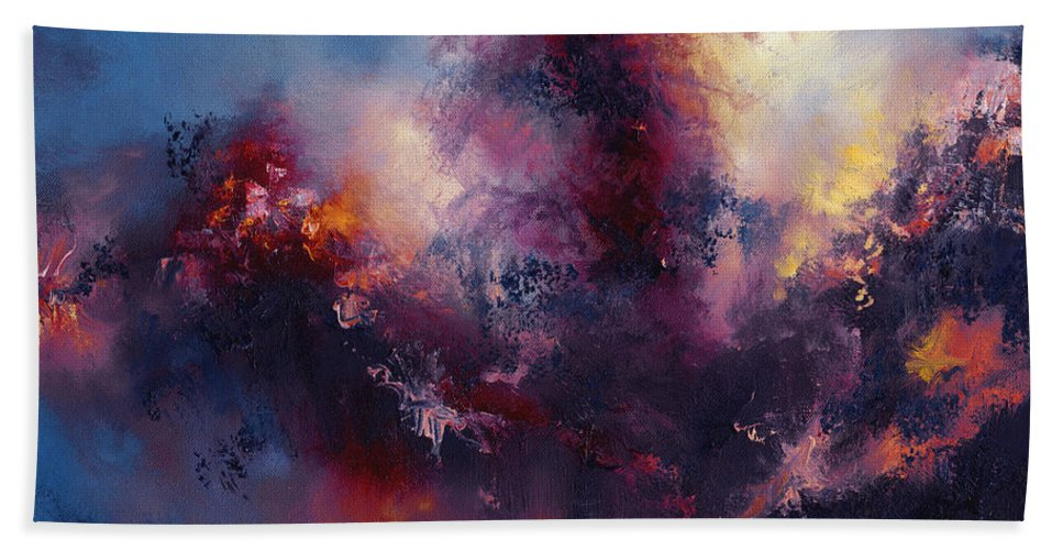 Abstract Abstracts Explosion Explode Color Colors Cloud Clouds Sky Oil Painting Hand Towel featuring the painting Tumult by Christopher Lyter