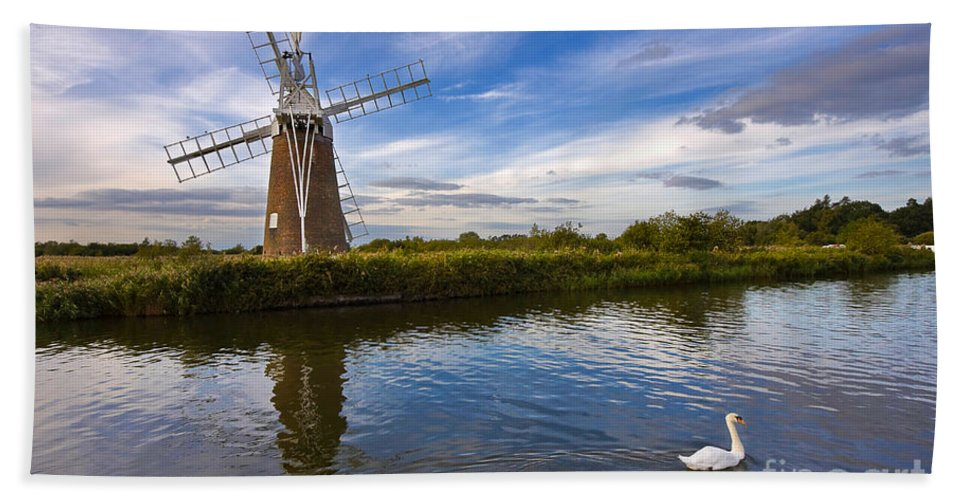 Travel Hand Towel featuring the photograph Turf Fen Drainage Mill by Louise Heusinkveld